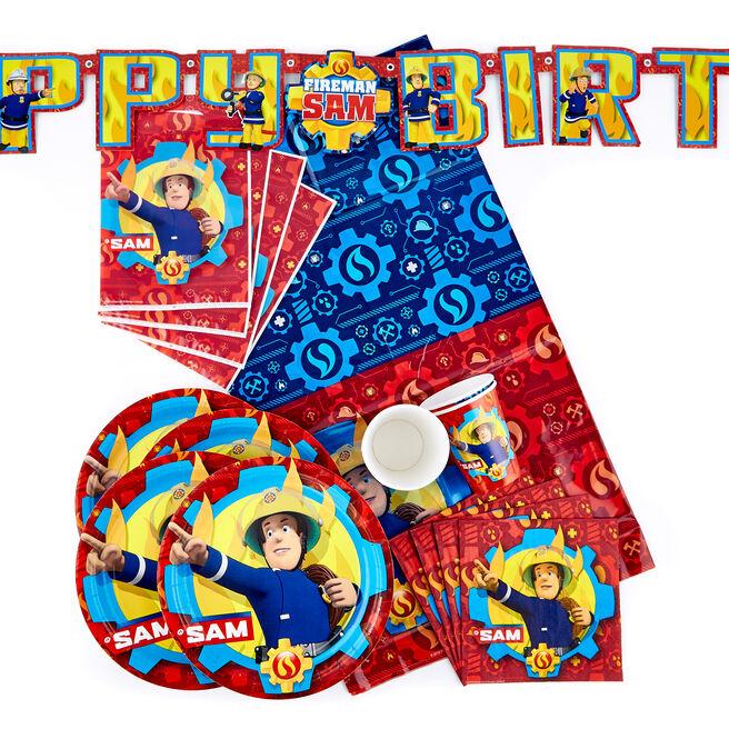 Fireman Sam Party Tableware & Decorations Bundle - 90 Pieces