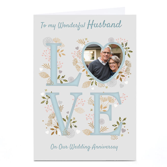 Photo Kerry Spurling Anniversary Card - Blue LOVE