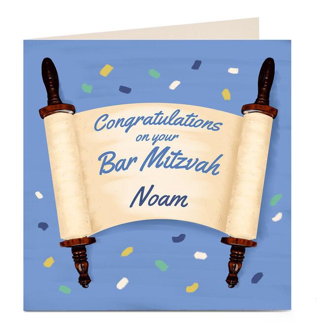 Personalised Bar Mitzvah Card - Congratulations Scroll