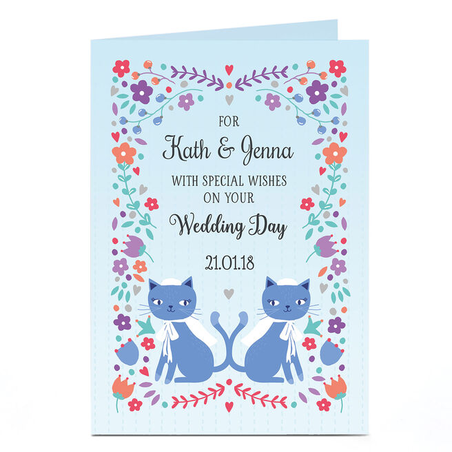 Personalised Wedding Card - Mrs and Mrs Cats