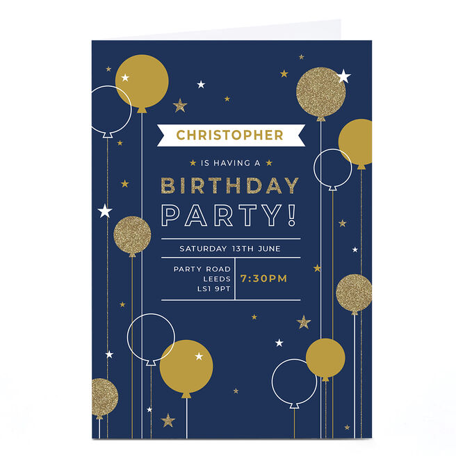 Personalised Party Invitation - Navy Balloons and Stars