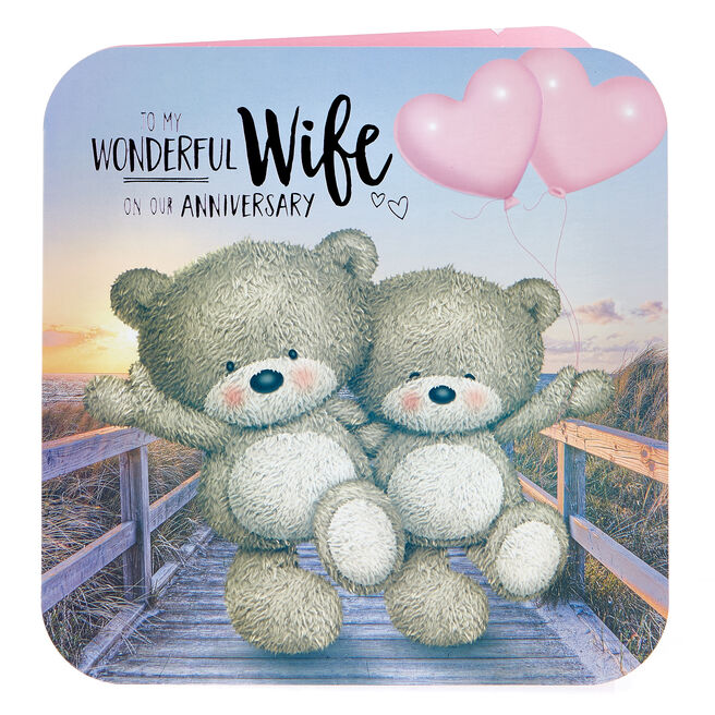 Platinum Collection Hugs Bear Anniversary Card - Wonderful Wife