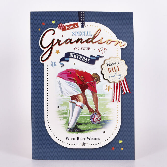 Signature Collection Birthday Card - Grandson Footballer