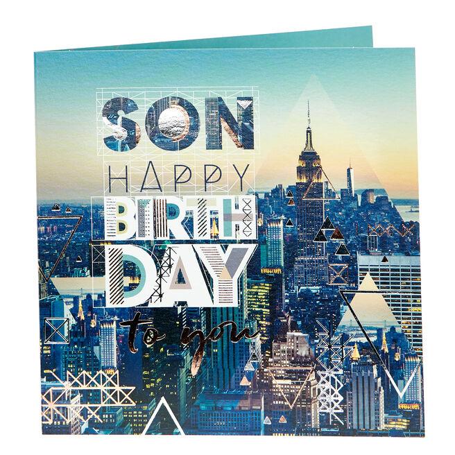 Birthday Card - Son, Cityscape
