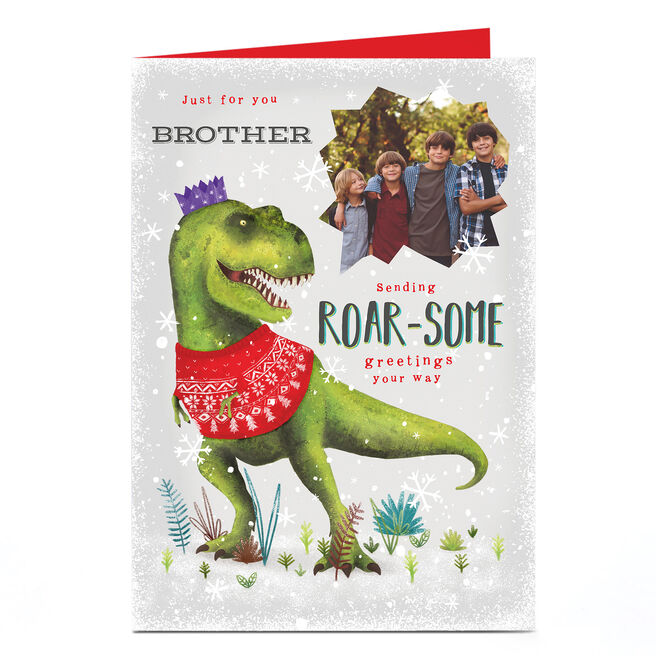 Personalised Photo Christmas Card - Roar-some Greetings Brother