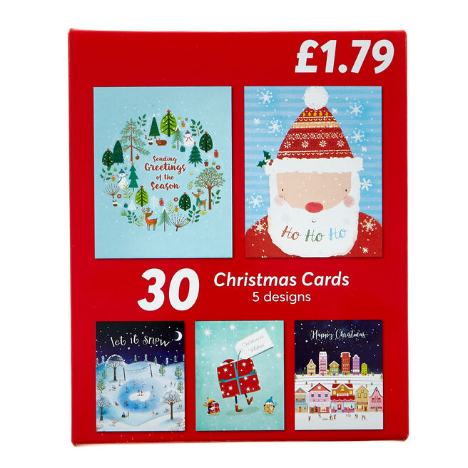 Pack Of 30 Children's Christmas Cards - 5 Designs
