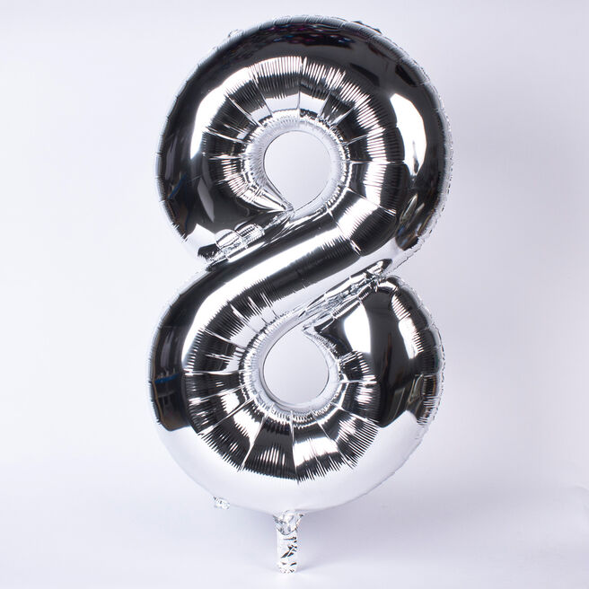 Silver Number 8 Giant Foil Helium Balloon INFLATED