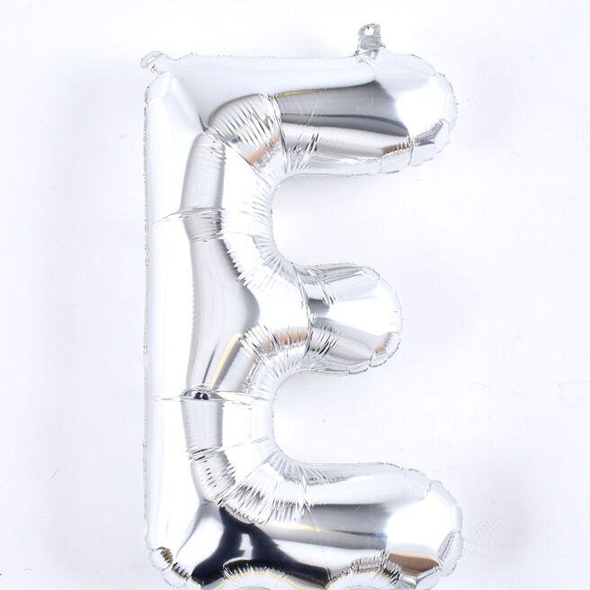 Silver Letter E Air-Inflated Balloon