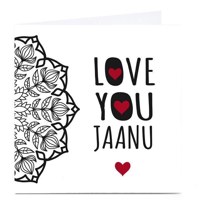 Personalised Roshah Designs Valentine's Day Card - Jaanu