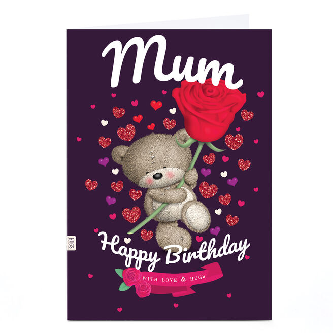 Personalised Hugs Bear Birthday Card - Bear with Rose, Mum