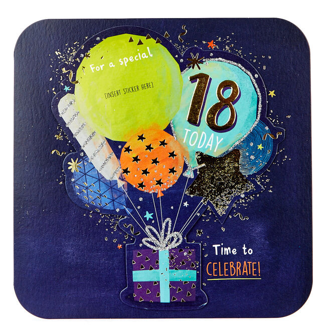 Exquisite Collection 18th Birthday Card - Any Male Recipient (Stickers Included)