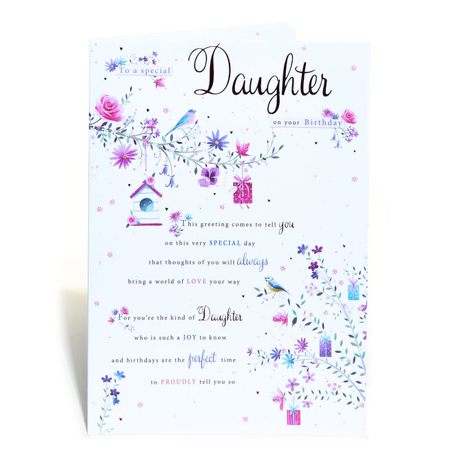 Birthday Card - Daughter, Flowers & Birds