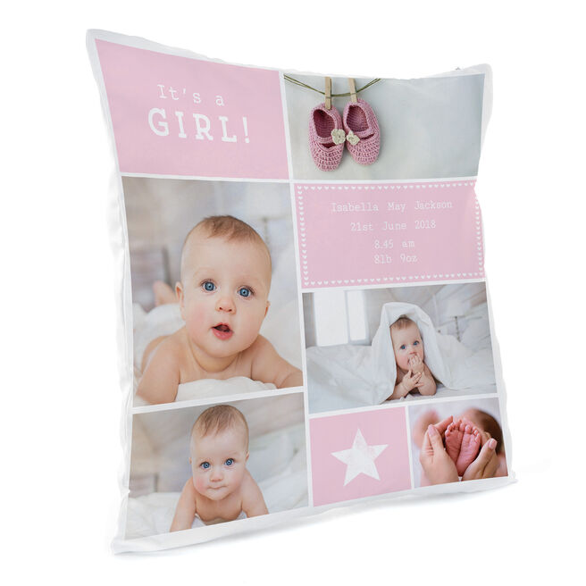 Personalised Photo Cushion - It's A Girl!