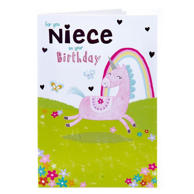 Birthday Card - Niece, Unicorn