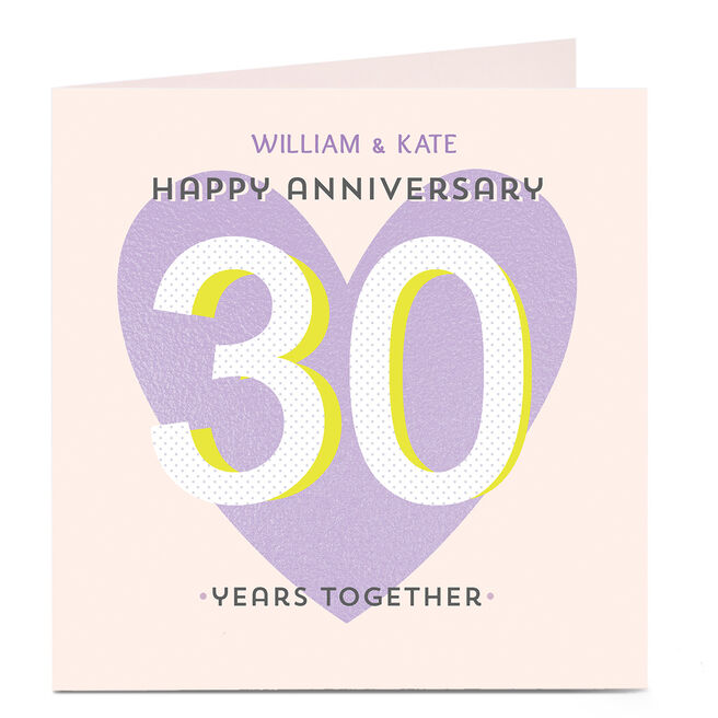 Personalised Anniversary Card - Years Together Purple
