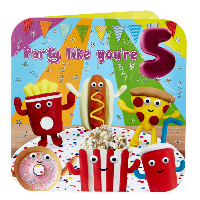 Platinum Collection 5th Birthday Card - Food Party