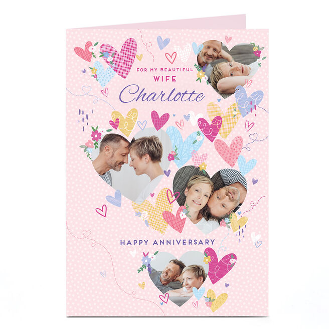 Photo Anniversary Card - Beautiful Wife Hearts