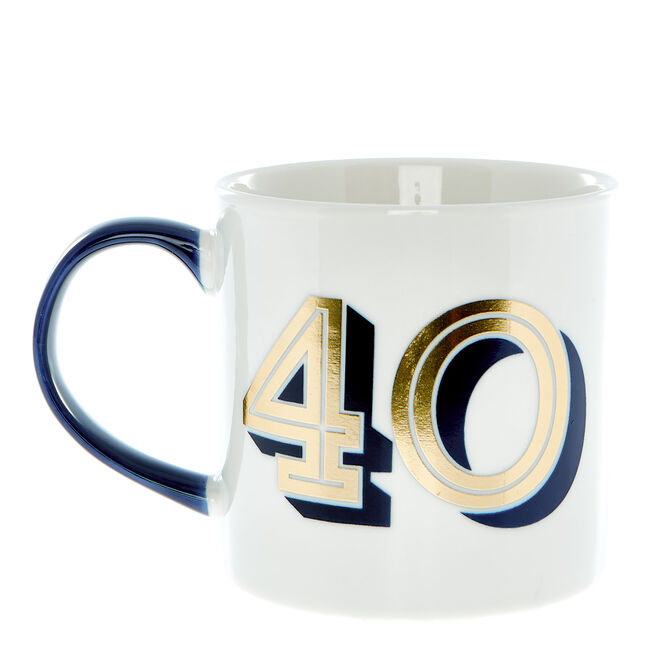 40th Birthday Mug In A Box - Blue & Gold
