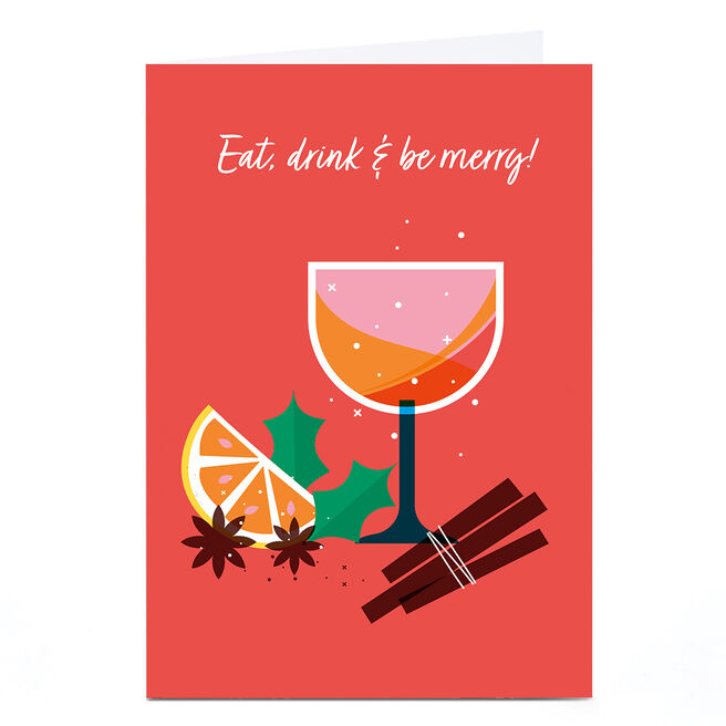 Personalised Neil Clark Christmas Card - Eat, Drink & Be Merry