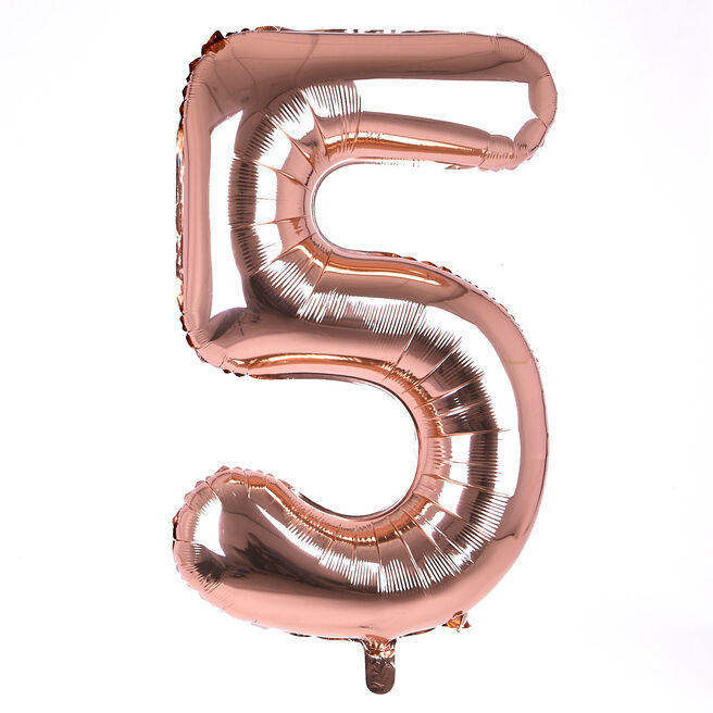 Rose Gold Number 5 Giant Foil Helium Balloon INFLATED