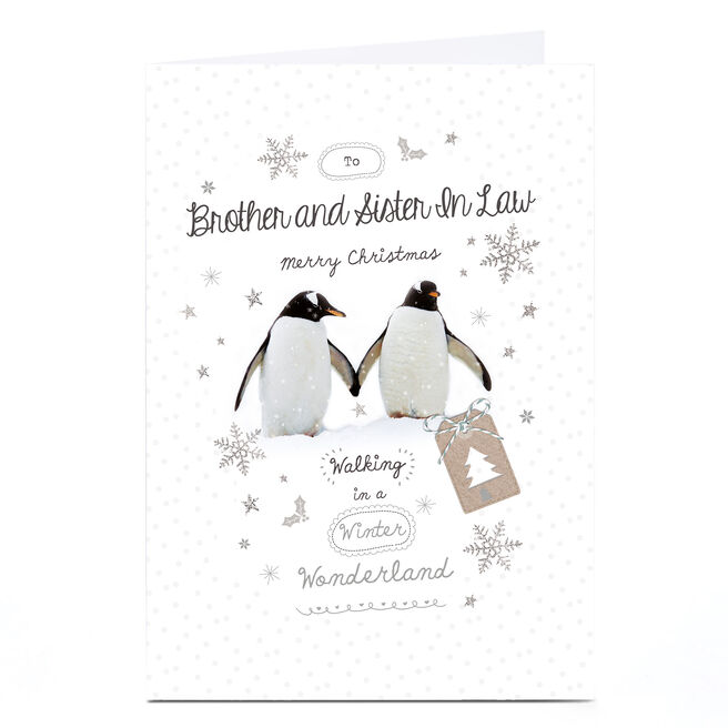 Personalised Christmas Card - Penguins - Brother and Sister-In-Law