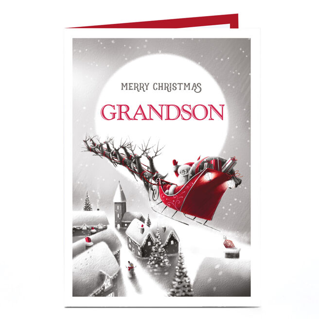 Personalised Christmas Card - Santa's Sleigh Grandson