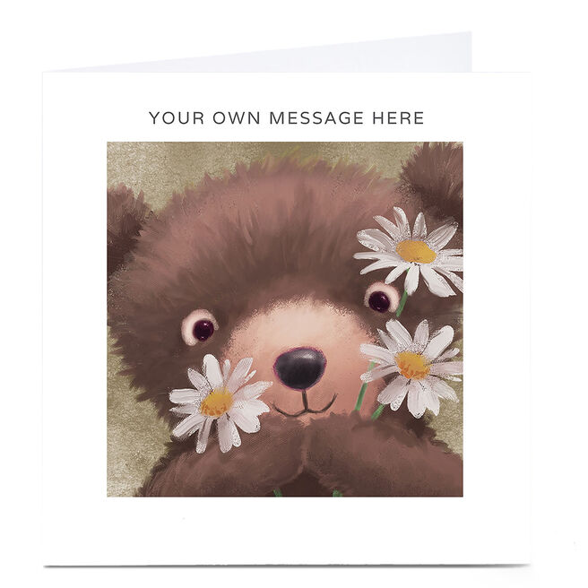 Personalised Card - Teddy Bear With Daisies
