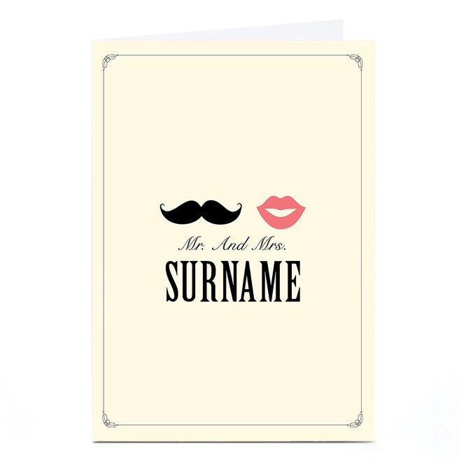 Personalised Wedding Card - Lips & Moustache