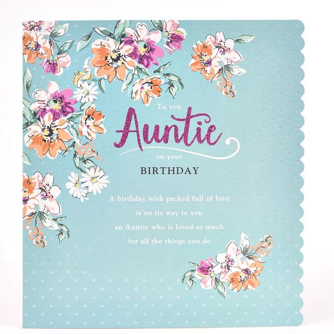 Platinum Collection Birthday Card - Auntie, Flowers