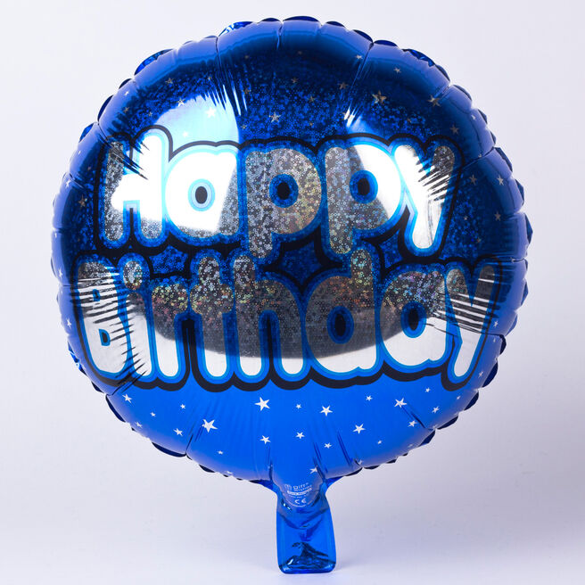 Holographic Blue Happy Birthday Foil Helium Balloon
