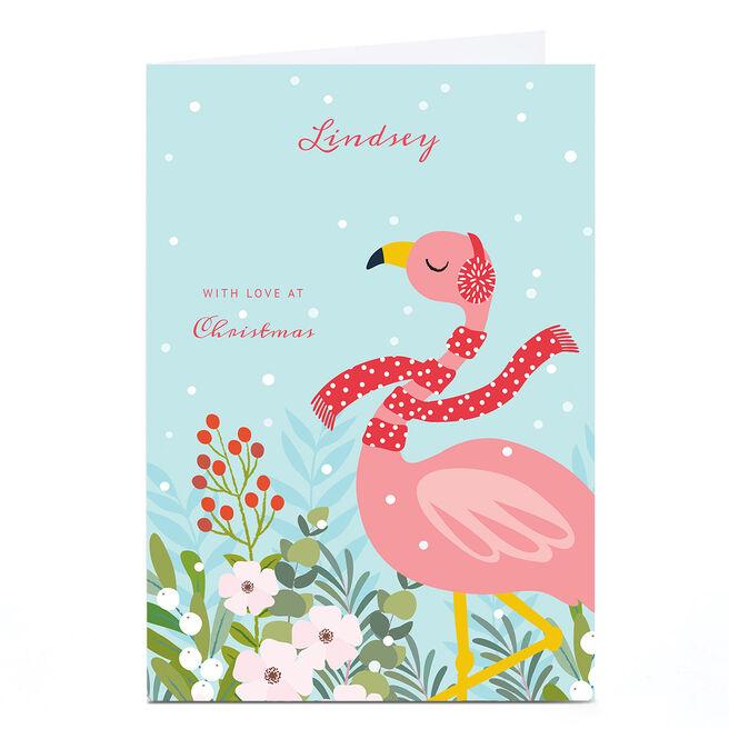 Personalised Klara Hawkins Christmas Card - Flamingo