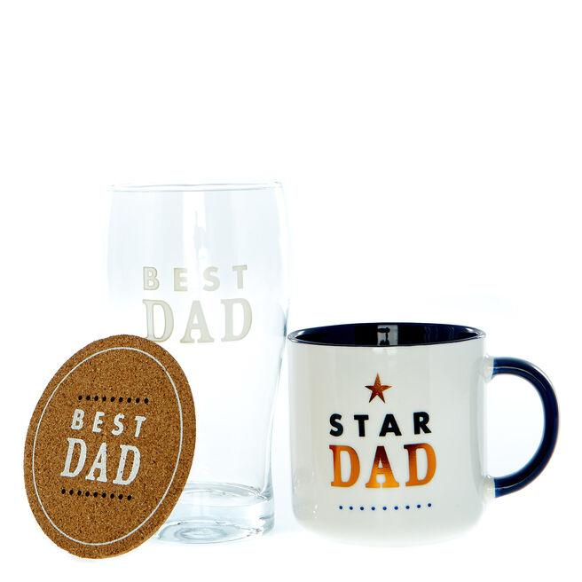 Star Dad Mug, Coaster & Pint Glass Gift Set