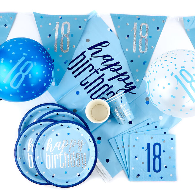 Blue 18th Birthday Party Tableware & Decorations Bundle - 78 Pieces