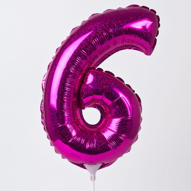 Holographic Pink Number 6 Balloon On A Stick