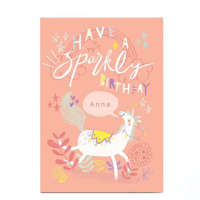 Personalised Jordan Wray Birthday Card - Sparkly