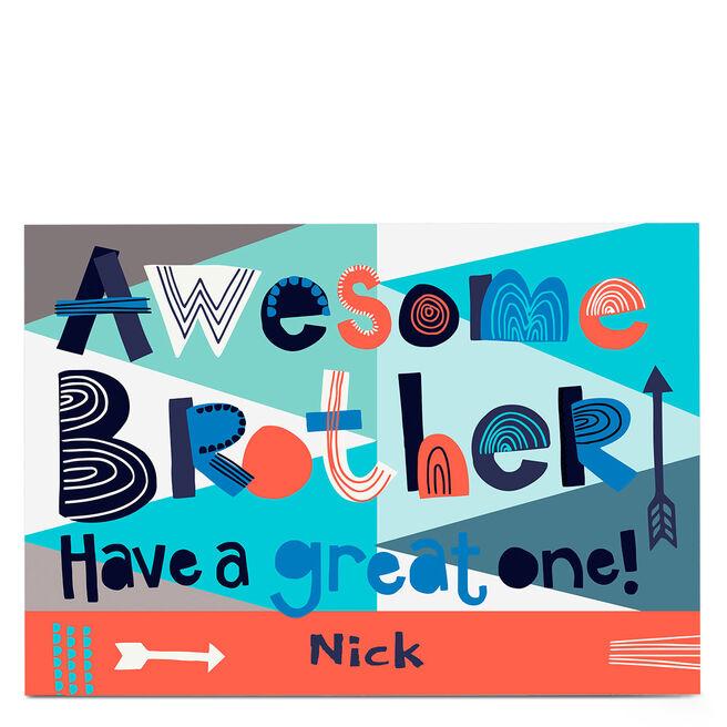 Personalised Bev Hopwood Birthday Card - Awesome Brother!