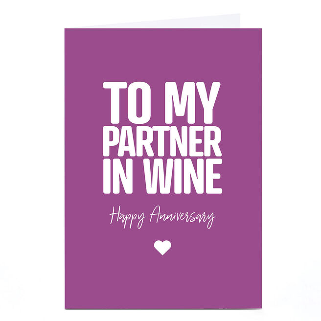 Personalised Punk Cards Anniversary Card - Partner in Wine
