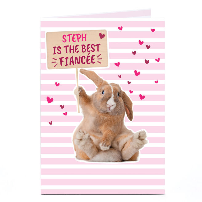 Personalised Card - Cute Rabbit Best Fiancee