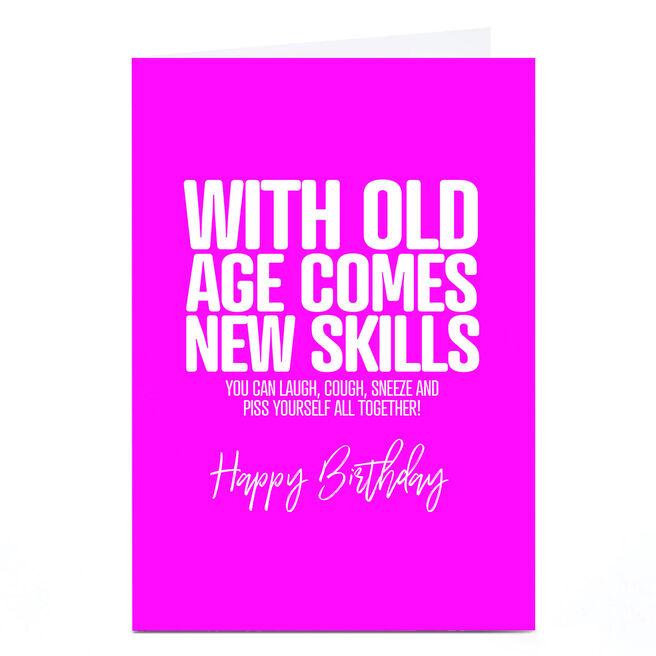 Personalised Punk Birthday Card - Old Age New Skills