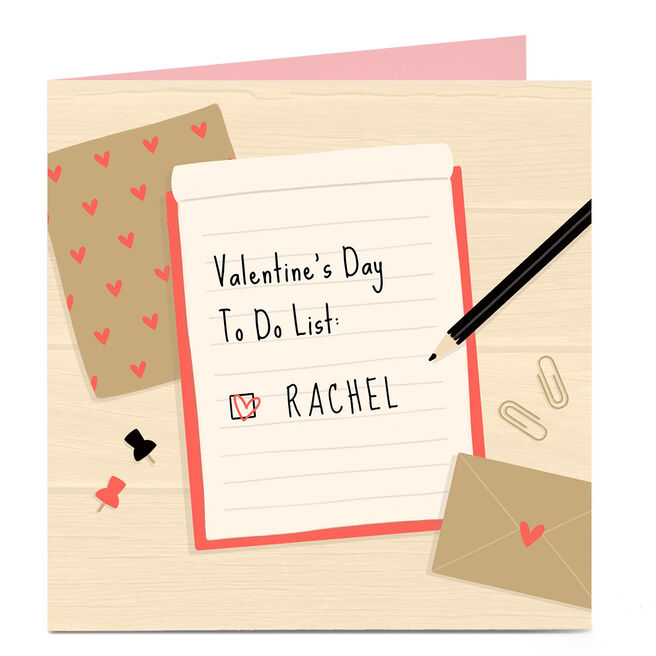 Personalised Valentine's Day Card - To Do List