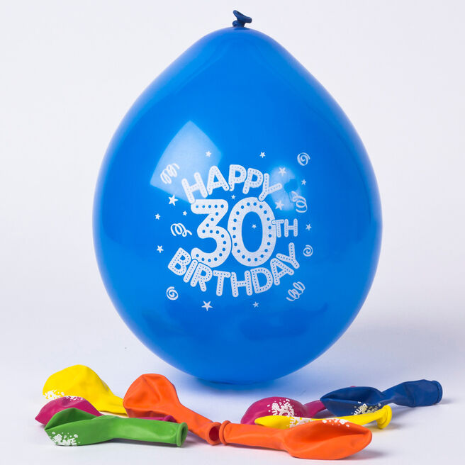 Multicoloured Age 30 Small Air-fill Latex Balloons, Pack Of 10
