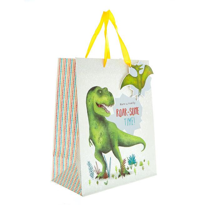 Medium Portrait Gift Bag - Roar-Some Dinosaur