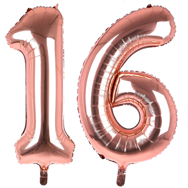 Age 16 Giant Foil Helium Numeral Balloons - Rose Gold (deflated)