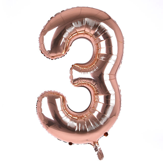 Rose Gold Number 3 Giant Foil Helium Balloon (Deflated)