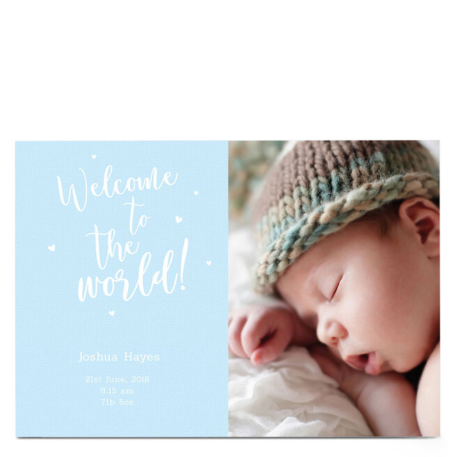 Photo New Baby Card - Welcome To The World Blue