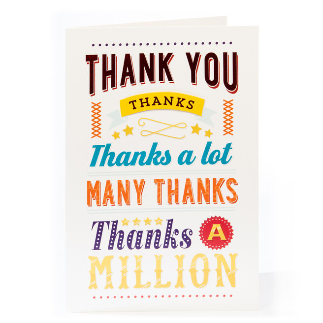 Giant Thank You Card - Thanks A Million