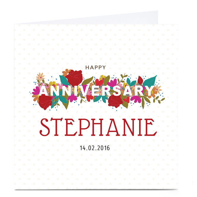 Personalised Anniversary Card - Red Floral