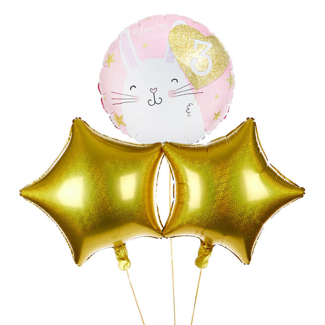 Bunny Rabbit 3rd Birthday Balloon Bouquet - DELIVERED INFLATED!