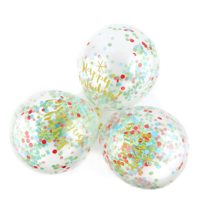 Colourful Happy Birthday Confetti Balloons - Pack Of 6