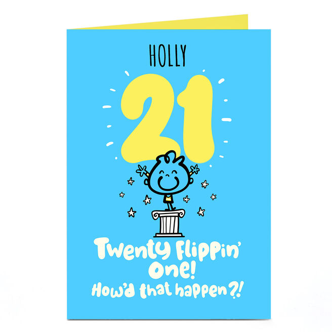 Personalised Fruitloops 21st Birthday Card - Twenty Flippin' One! Blue